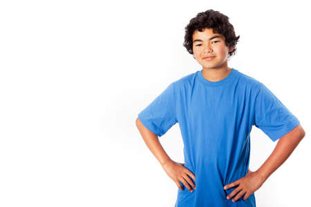 Asian Teenager thinking isolated on white for copy space photo