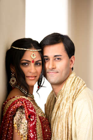 indian beauty: Image of a gorgeous Indian bride and groom traditionally dressed