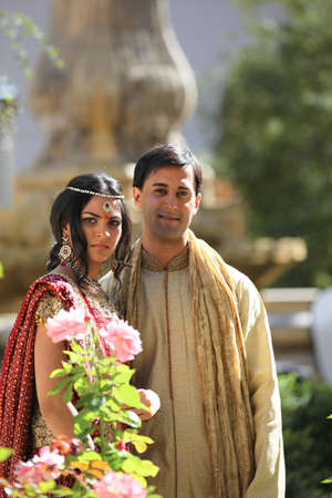 indian bride: Image of a gorgeous Indian bride and groom traditionally dressed