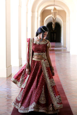Beautiful Indian Bride in Cathedral Hallway on her wedding day Banco de Imagens