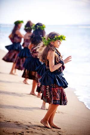 hula girl: Hawaiian Hula Girls on the beach dancing in Maui