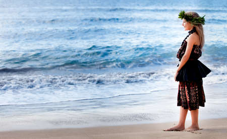 hula: Pretty Hula Girl dancing at the beach wearing a handmade head piece