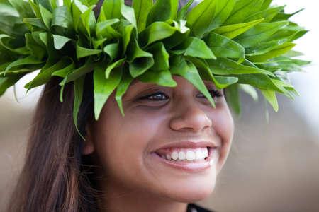 hula girl: Pretty Hula Girl wearing a handmade Polynesian head piece