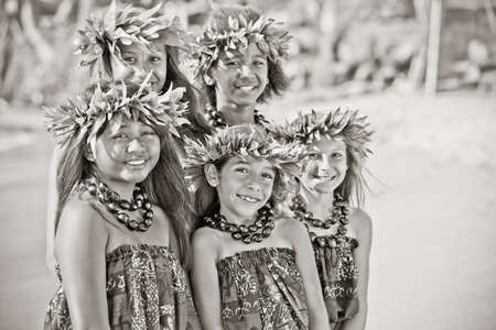 Hula girls on the beach in Black and white textured grain photo for aging effect Stock Photo - 14285742