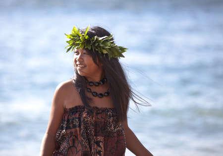 hula: Pretty Hula Girl wearing a handmade head piece