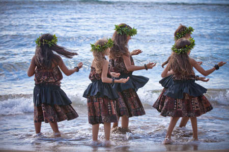 hawaii sunset: Hula Girls dancing on a Beach  of Maui Hawaii Stock Photo