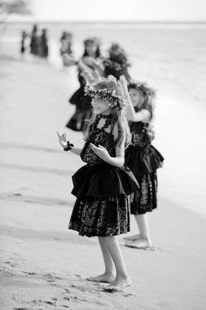 Hawaiian Hula Girls on the beach Black and white Portrait Stock Photo - 14285486