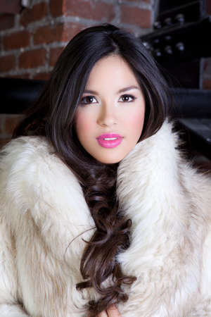 Beautiful Young Woman with long hair wearing a Faux fur coat Stock Photo - 14285633