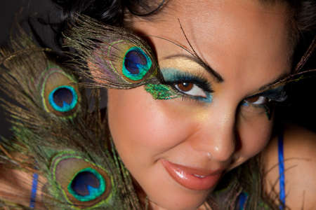 Beautiful Indian Woman with exotic Peacock makeup Archivio Fotografico