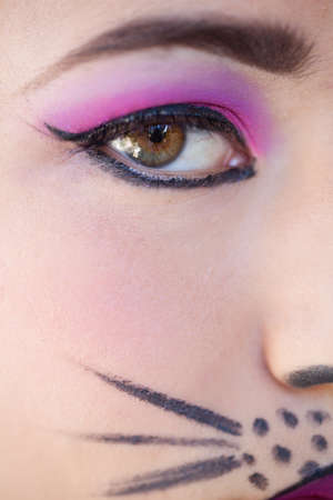 Close up of a painted face woman in cat makeup photo
