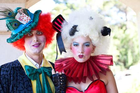 clown birthday: Couple ready to party on Halloween Stock Photo