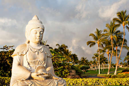 Prayer at Sunsrt in Paradise with Buddha photo