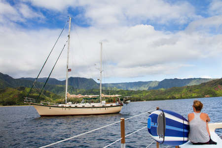 hawaii flag: Sailing the Hawaiian Islands Stock Photo