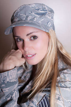 army girl: Pretty Lady of the Armed Forces looking at Camera