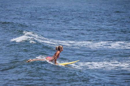 In Hawaii Pretty Young Woman on a Surfboard catching a wave Stok Fotoğraf