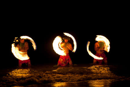 Three Strong Men Juggling Fire in Hawaii - Fire Dancers