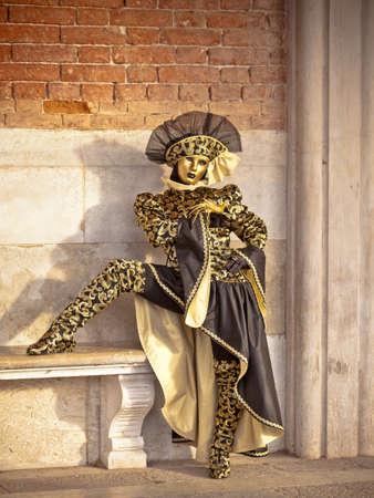 고대의 벽돌 벽에 의해 아름 다운 황금 베네치아 카니발을 표시했습니다 여자