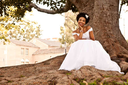 Gorgeous African American Bride shot outside in California photo