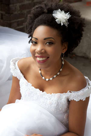 ethnic attire: Gorgeous African American Bride shot outside in California