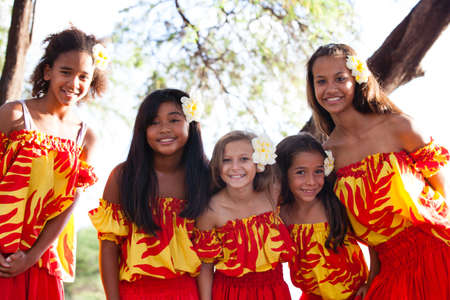Group of fivePolynesian Hula girls  in Friendship looking at camera photo
