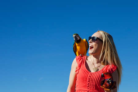 parrot flying: Beautiful Woman with Macaw Parrots yelling with excitement against a beautiful blue sky Stock Photo