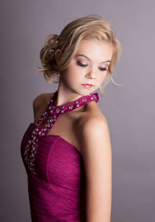 angelic: Young Beautiful Elegant Lady in Fuchsia colored evening gown