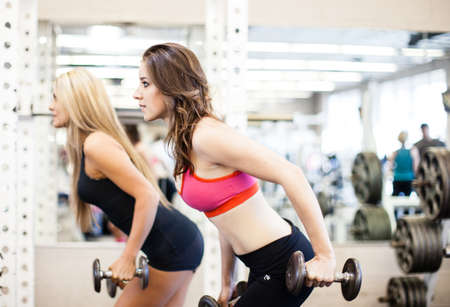 only the biceps: Women working on their triceps with dumbells at the gym