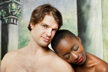 adult sex: Beautiful mixed race couple as Adam and eve or Greek Gods close up head shot
