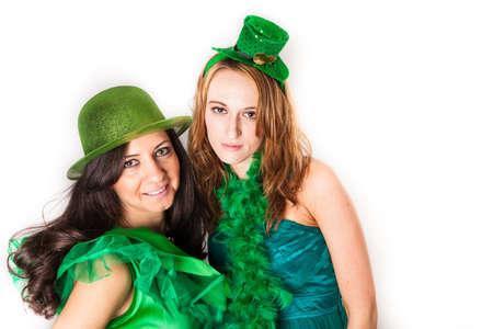 Pretty Irish women in Green and a shower of Shamrocks Stock Photo - 18122768