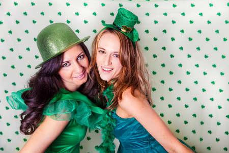 st: Pretty Irish women in Green and a shower of Shamrocks