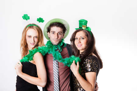 Three Friends in their 20s Celebrating St Patrick Stock Photo - 18122764
