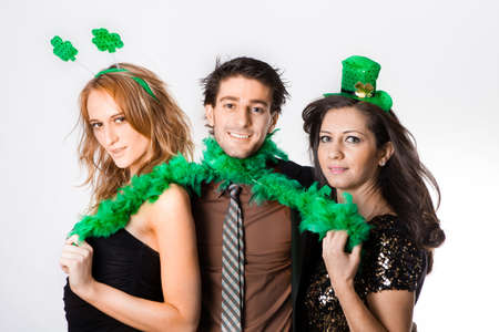 Three Friends in their 20s Celebrating St Patrick Stock Photo - 18122766