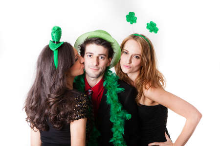 Three Friends in their 20s Celebrating St Patrick