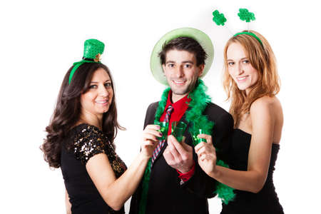 Three Friends in their 20s Celebrating St Patrick Stock Photo - 18129814