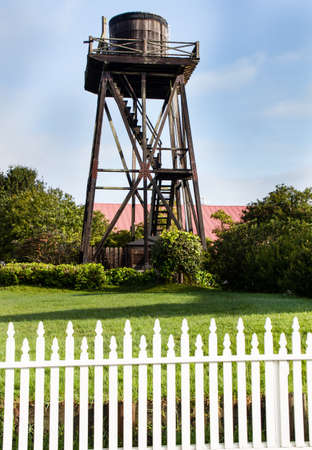 the water tower: Mendocino historic water tower Stock Photo