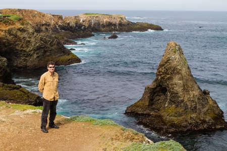 state park: Man on Vacation along Mendocino coastline California