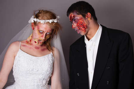 Zombie Bride and groom full Makeup Stock Photo - 19126153