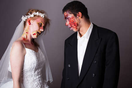 fear face: Zombie Bride and groom full Makeup