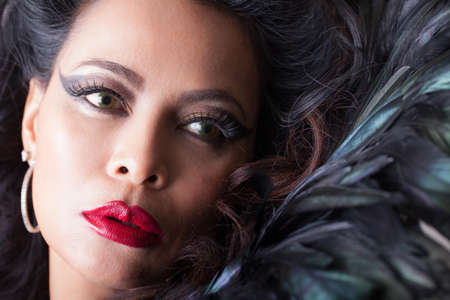 Beautiful  woman with Feathers and perfect red lips Imagens