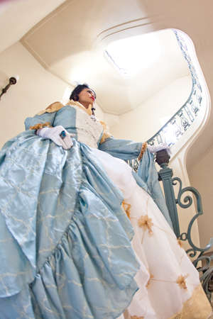 lacey: ortrait of a beautiful  woman with elaborate Marie Antoinette dress Lacey Dress