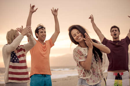 union beach: Young people celebrating at Venice Beach in Summer Stock Photo