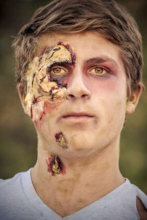 flesh: Teenager Zombie Portrait with decaying skin affects