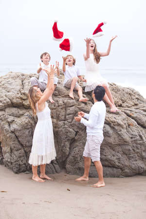 Christmas Family Portrait at the Beach in Malibu,California photo