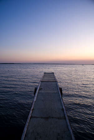 A canadian jetty at sunset Stock Photo