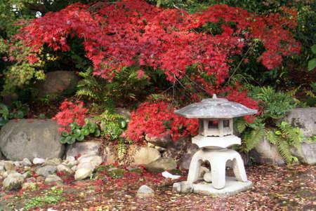 A stone lantern in a Japanese ornamnetal garden Stock Photo