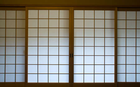 shoji: A traditional Japanese paper screen window Stock Photo