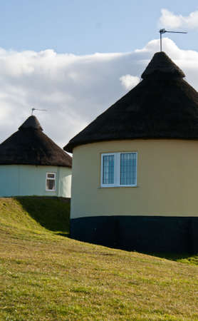 Two African-inspired round holiday cottages near the English coast