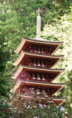 A five-story pagoda in the Japanese mountains