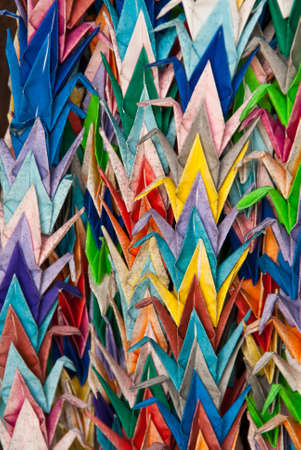 Colorful origami cranes on display at a Japanese temple