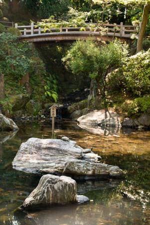 ponte giapponese: Un laghetto ornamentale Giapponese con ponte ad archi di legno in background Archivio Fotografico